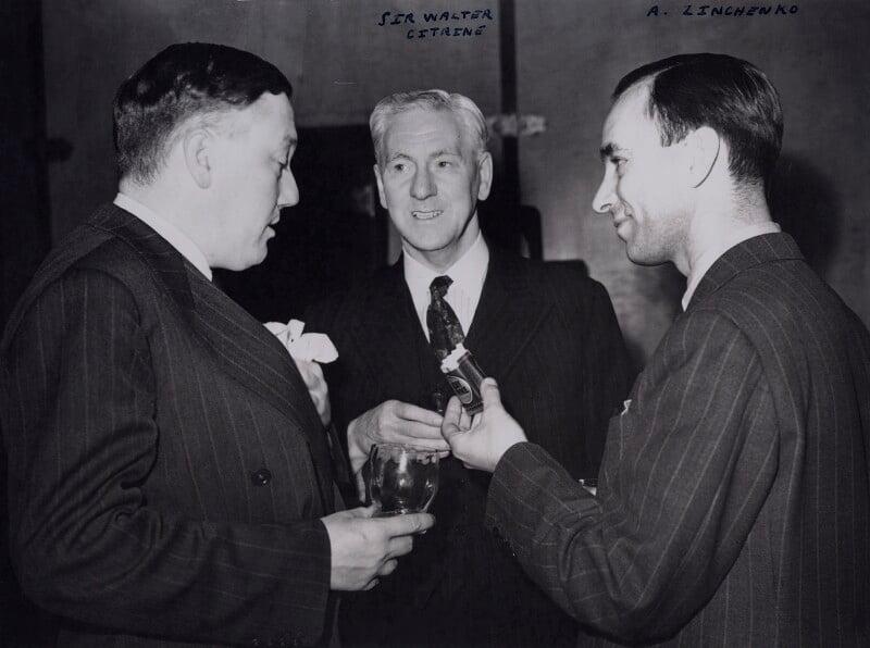 Percy Cudlipp; Walter McLennan Citrine, 1st Baron Citrine; A. Zinchenko, by Jack Esten, for  Daily Herald, 4 October 1943 - NPG x184284 - © National Portrait Gallery, London