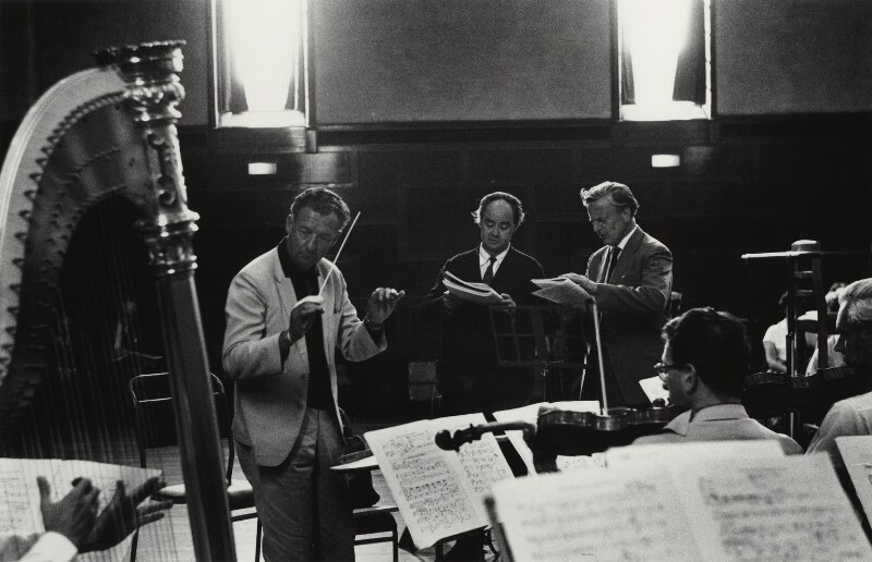 Benjamin Britten; Peter Pears; William Bundy, by Michael Peto, 1963 - NPG x138055 - © University of Dundee The Peto Collection