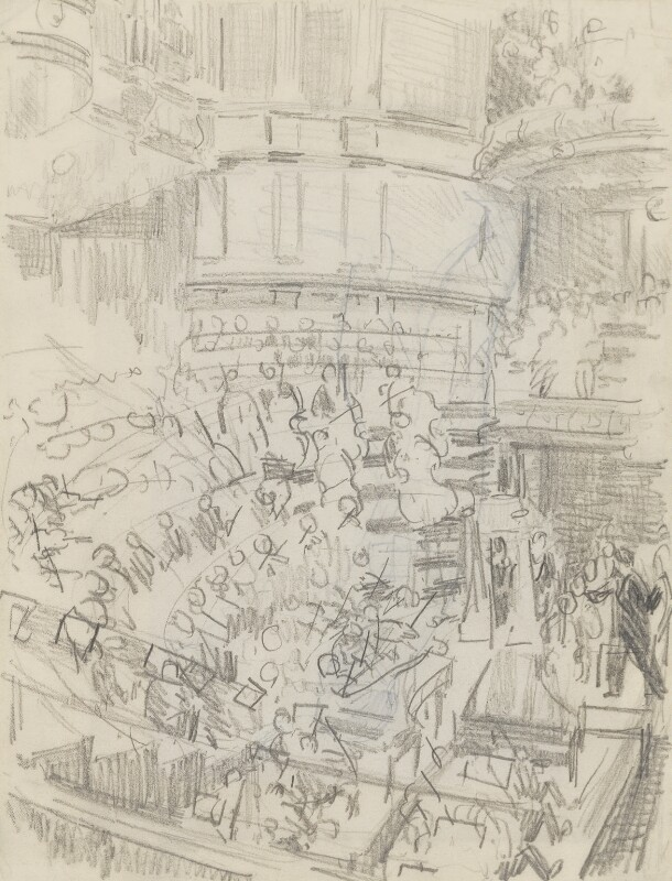 Sir Thomas Beecham conducting 'A Mass of Life' at the Queen's Hall, by Ernest Procter, 1929 - NPG 4975(31) - © National Portrait Gallery, London
