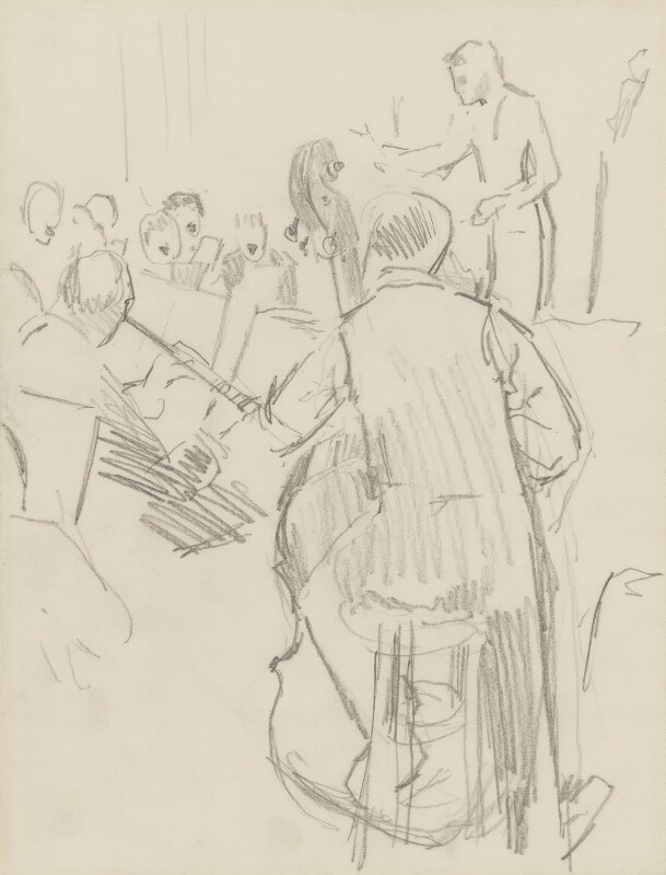 Sir Thomas Beecham, 2nd Bt with members of the orchestra, by Ernest Procter, 1929 - NPG 4975(32) - © National Portrait Gallery, London