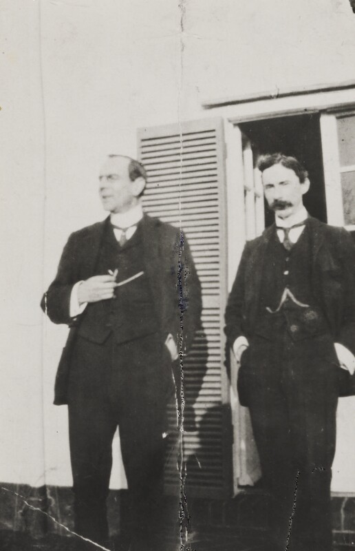 Bertrand Arthur William Russell, 3rd Earl Russell and an unknown man, by Unknown photographer, circa 1907 - NPG Ax160722 - © National Portrait Gallery, London