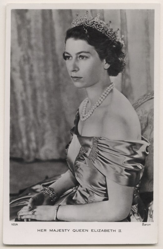 Queen Elizabeth II, by Baron (Sterling Henry Nahum), published by  Raphael Tuck & Sons, 1949 - NPG x138066 - © Baron/Camera Press