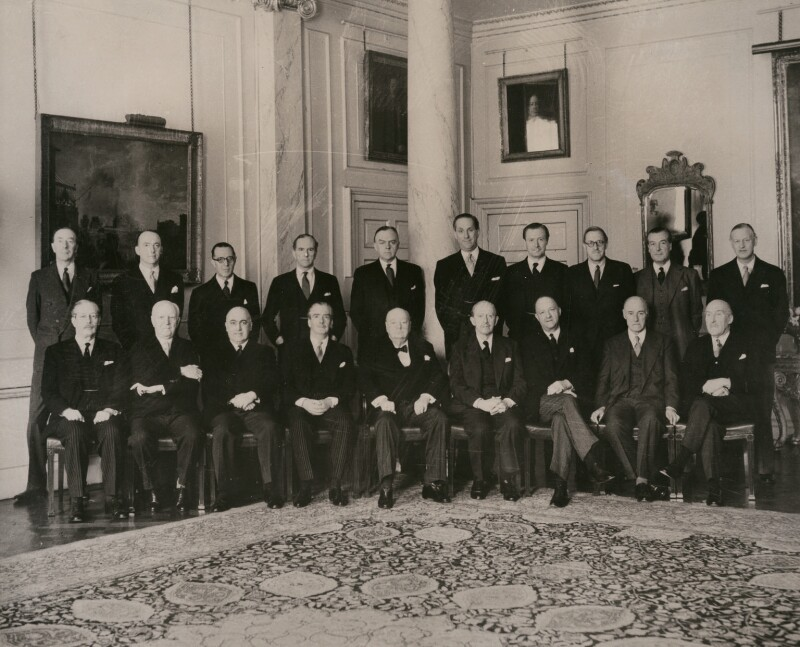 Sir Winston Leonard Spencer Churchill and his cabinet of 1955, by International News Photos, 1955 - NPG x182304 - © reserved; collection National Portrait Gallery, London