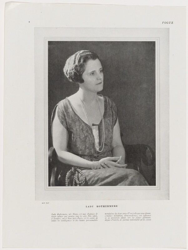 Mary Lilian (née Share), Viscountess Rothermere, by Man Ray, published August 1925 - NPG x138123 - © reserved; collection National Portrait Gallery, London