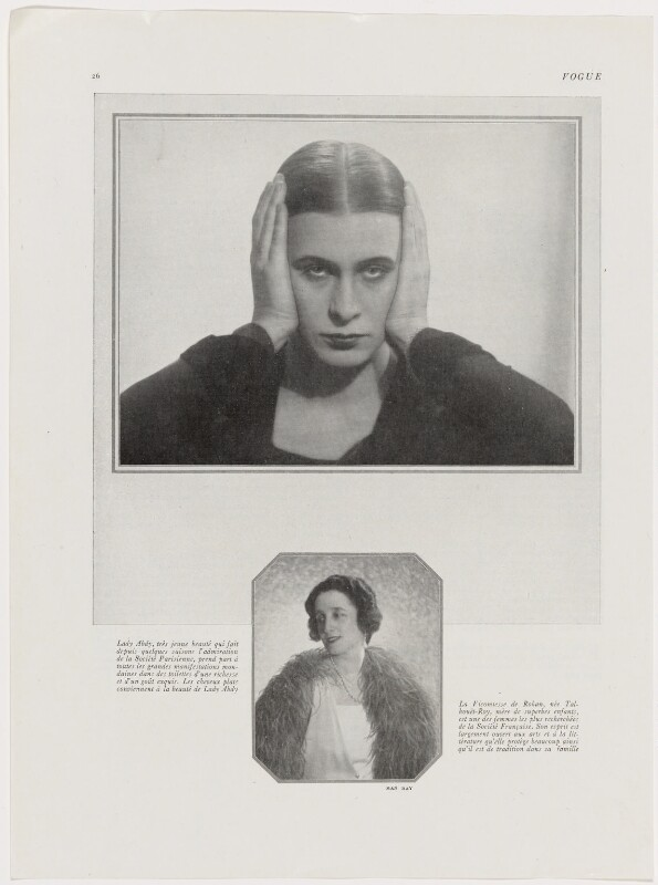 Iya (née de Gay), Lady Abdy by Man Ray halftone reproduction tear sheet, published August 1925. Image via NPG
