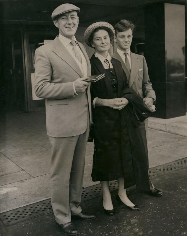Sir Alec Guinness; Merula Silvia (née Salaman), Lady Guinness; Matthew Guinness, by Jimmy Wilds, for  Keystone Press Agency Ltd, 31 July 1957 - NPG x184385 - © Keystone Press Agency Ltd
