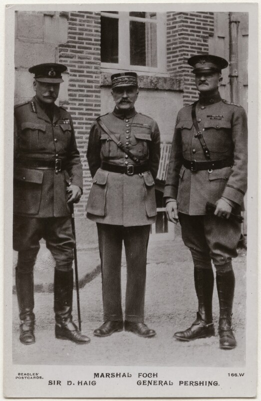 Douglas Haig, 1st Earl Haig; Ferdinand Foch; John Joseph Pershing, by J. Beagles & Co, 1918 - NPG x138130 - © National Portrait Gallery, London