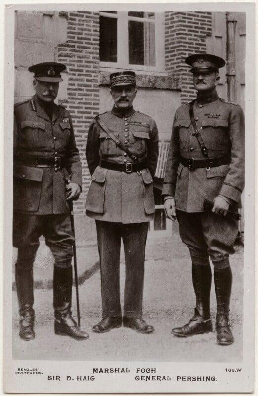 Douglas Haig, 1st Earl Haig; Ferdinand Foch; John Joseph Pershing, by J. Beagles & Co, 1917 - NPG x138130 - © National Portrait Gallery, London