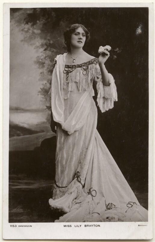 Lily Brayton, by Bassano Ltd, published by  Davidson Brothers, 1890s - NPG x193631 - © National Portrait Gallery, London