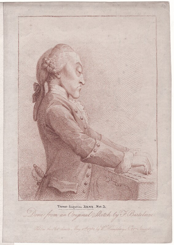 Thomas Augustine Arne, published by William Humphrey, after  Francesco Bartolozzi, published 10 May 1782 - NPG D42978 - © National Portrait Gallery, London