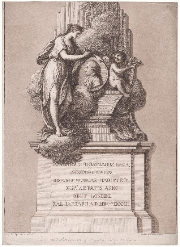 Monument of Johann Christian Bach, by Francesco Bartolozzi, published by and after  Agostino Carlini, published 10 March 1782 - NPG D42977 - © National Portrait Gallery, London