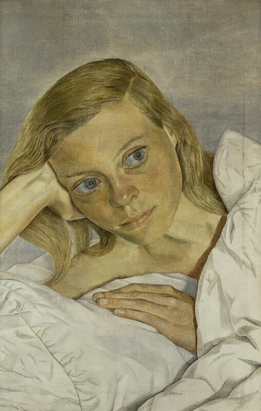 Girl in Bed, by Lucian Freud, 1952 - NPG L258 - © The Lucian Freud Archive / Bridgeman Art Library; private collection; on loan to the National Portrait Gallery, London