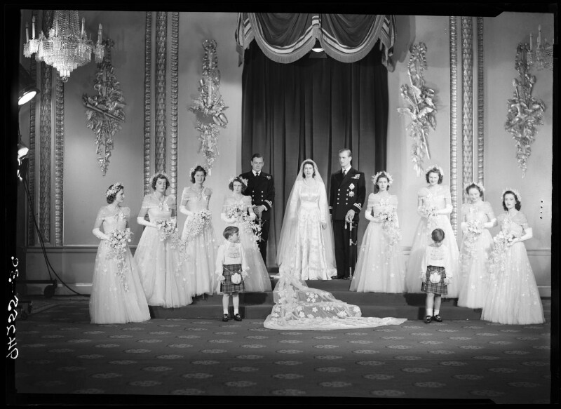 Wedding of Queen Elizabeth II and Prince Philip, Duke of Edinburgh, by Bassano Ltd, 20 November 1947 - NPG x158906 - © National Portrait Gallery, London