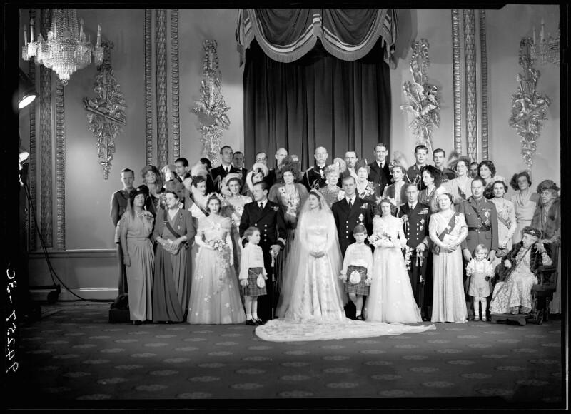 Wedding of Queen Elizabeth II and Prince Philip, Duke of Edinburgh, by Bassano Ltd, 20 November 1947 - NPG x158912 - © National Portrait Gallery, London