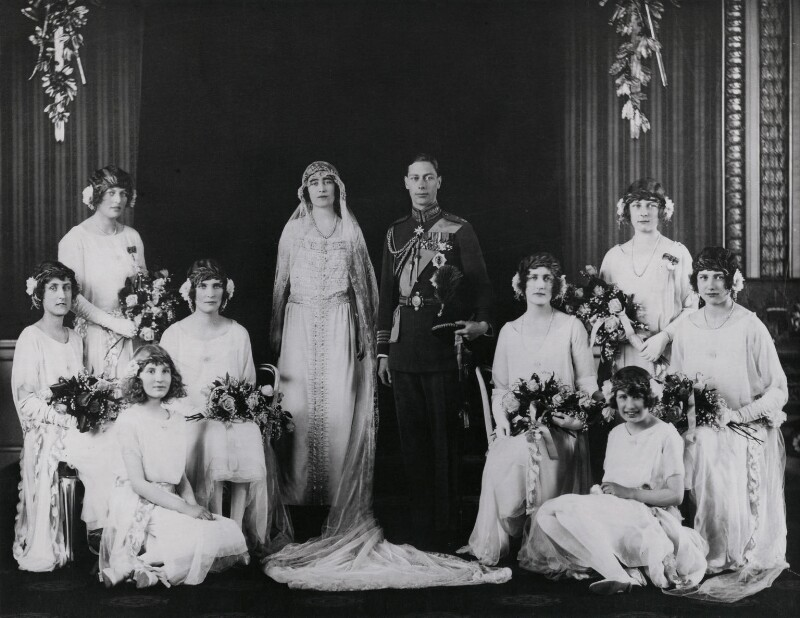 The wedding of King George VI and Queen Elizabeth, the Queen Mother, by Bassano Ltd, 26 April 1923 - NPG x158916 - © National Portrait Gallery, London