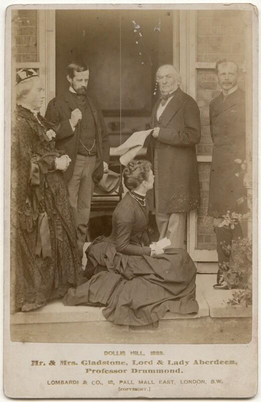 'Mr. & Mrs. Gladstone, Lord & Lady Aberdeen, Professor Drummond.', by Lombardi & Co, 1888 - NPG x197311 - © National Portrait Gallery, London