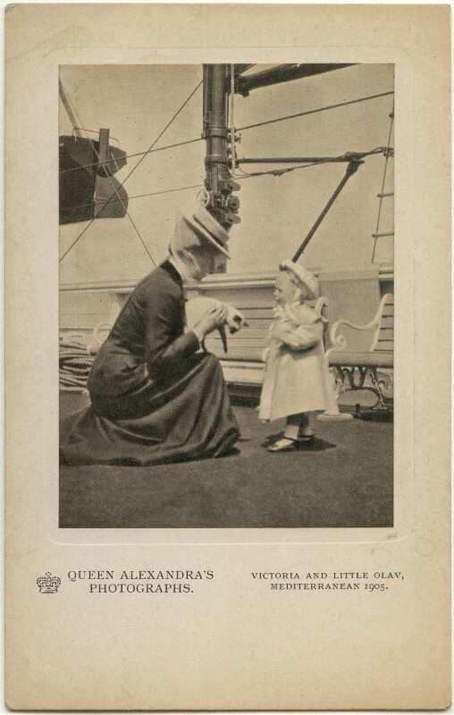 Princess Victoria of Wales; Olav V, King of Norway, by Queen Alexandra, published by  A.V.N. Jones & Co, 1905, published circa 1908 - NPG x197338 - © National Portrait Gallery, London
