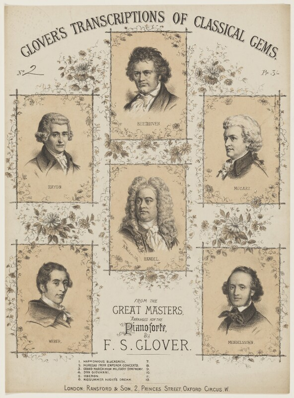 Sheet music cover for 'Glover's transcriptions of classical gems', by Michael Watson, published by  Ransford & Son, circa 1869-1876 - NPG D42832 - © National Portrait Gallery, London