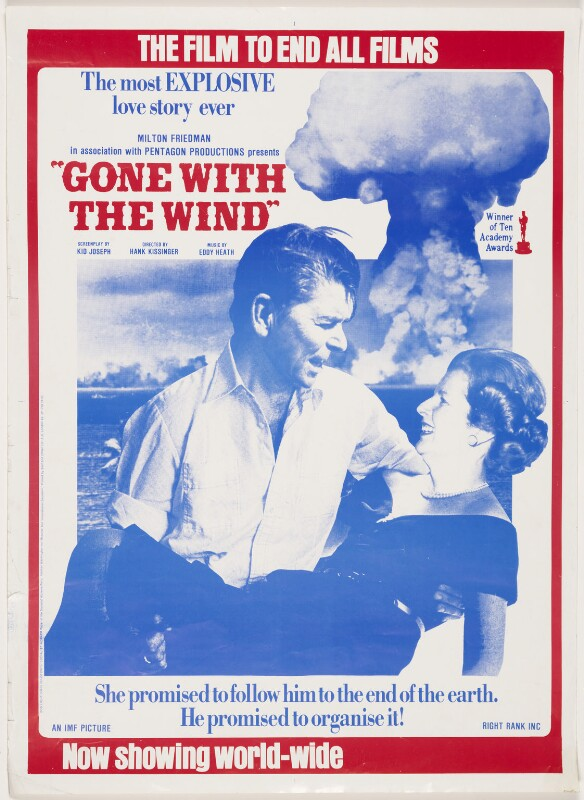 'Gone with the Wind' (Ronald Reagan; Margaret Thatcher), by Bob Light, and by John Houston, printed by East End Offset Ltd, published by Socialist Workers Party, 1981 or after - NPG D43009 - © reserved; collection National Portrait Gallery, London