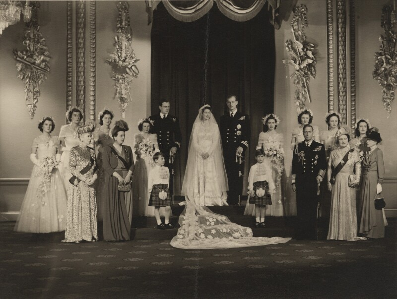 Wedding of Queen Elizabeth II and Prince Philip, Duke of Edinburgh, by Bassano Ltd, 20 November 1947 - NPG x158996 - © National Portrait Gallery, London