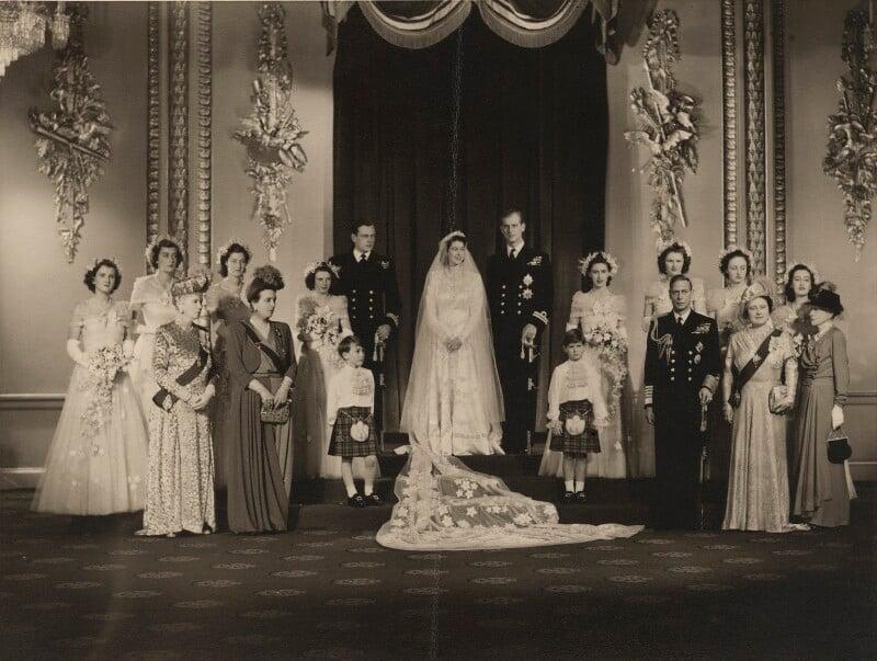 Wedding of Queen Elizabeth II and Prince Philip, Duke of Edinburgh, by Bassano Ltd, 20 November 1947 - NPG x158996 - © National Portrait Gallery, London