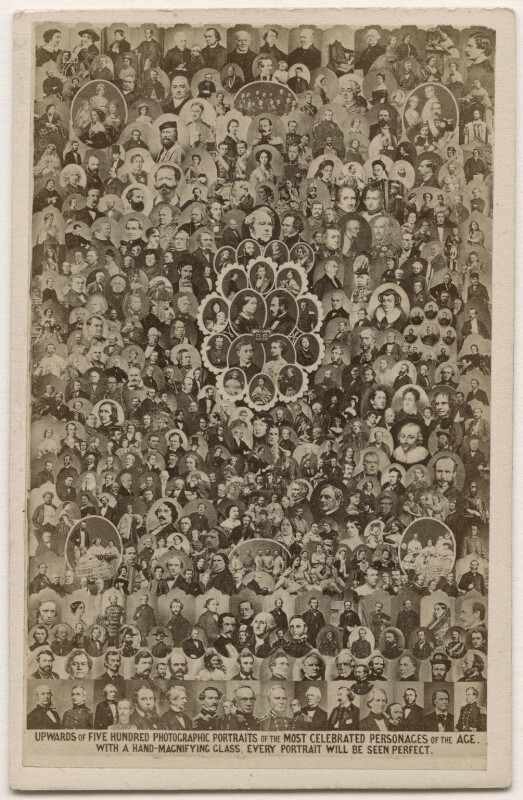 'Upwards of five hundred photographic portraits of the most celebrated personages of the age', by Frederick Holland Mares, after  Disdéri, and  Camille Silvy, and  Duroni & Murer, and  Émile Desmaisons, and  John Jabez Edwin Mayall, and  Herbert Watkins, and  William Edward Kilburn, and  Horatio Nelson King, and  John & Charles Watkins, and  James , 1863 - NPG x139661 - © National Portrait Gallery, London