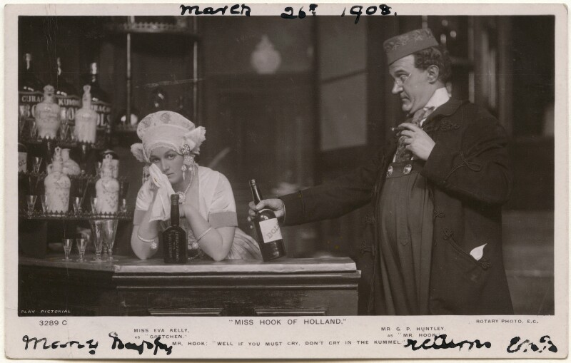 Eva Kelly as Gretchen and George Patrick Huntley as Mr Hook in 'Miss Hook of Holland', published by Rotary Photographic Co Ltd, 1908 - NPG x139699 - © National Portrait Gallery, London