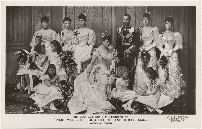 'The Only Authentic Photograph of Their Majesties King George and Queen Mary, Wedding Group', by W. & D. Downey, 1910s (6 July 1893) - NPG x197486 - © National Portrait Gallery, London