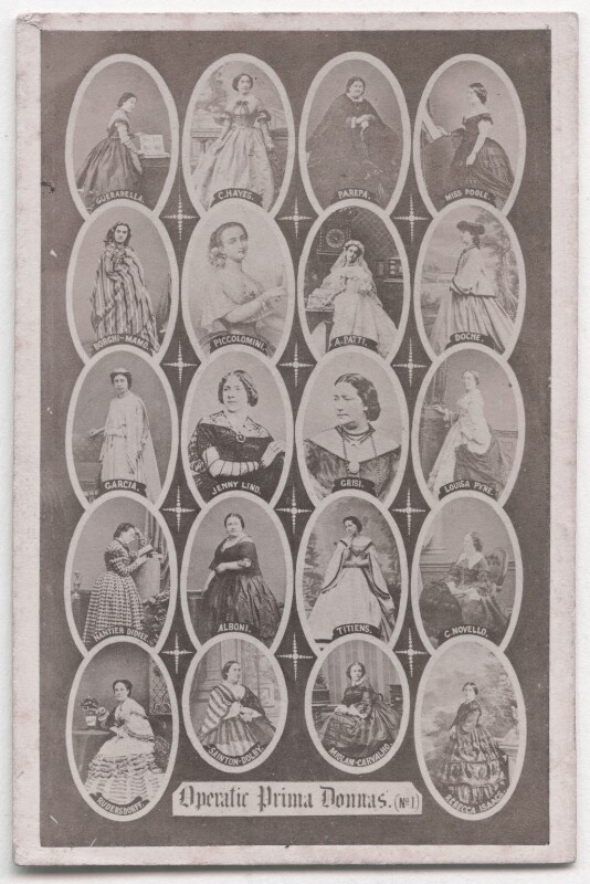 'Operatic Prima Donnas', by Frederick Holland Mares, after  Henry Hering, and  Mayer Brothers, and  Richard Burton & Co, and  Disdéri, and  Camille Silvy, and probably  William Edward Kilburn, and  Southwell Brothers, and  John Burton, and  Clarkington & Co (Charles Clarkington),, 1863 - NPG x197566 - © National Portrait Gallery, London