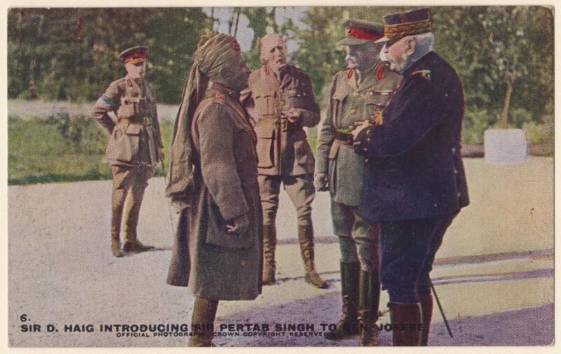 Sir Pertab Singhji; Joseph-Jacques-Césaire Joffre; Douglas Haig, 1st Earl Haig, by Unknown photographer, 1916 - NPG x182262 - © National Portrait Gallery, London