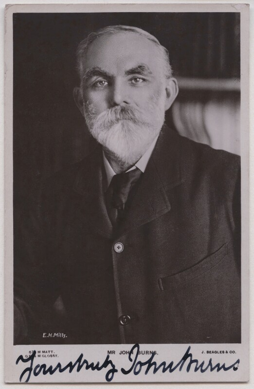 John Elliott Burns, by E.H. Mills, published by  J. Beagles & Co, 1900s - NPG x197724 - © National Portrait Gallery, London