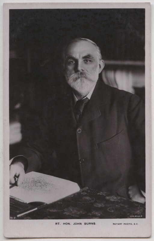 John Elliott Burns, by E.H. Mills, published by  Rotary Photographic Co Ltd, 1900s - NPG x197725 - © National Portrait Gallery, London