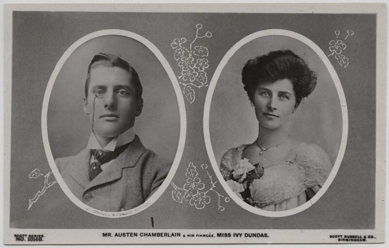 Sir (Joseph) Austen Chamberlain; Ivy Muriel (née Dundas), Lady Chamberlain, published by Scott Russell & Co, circa 1906 - NPG x197753 - © National Portrait Gallery, London