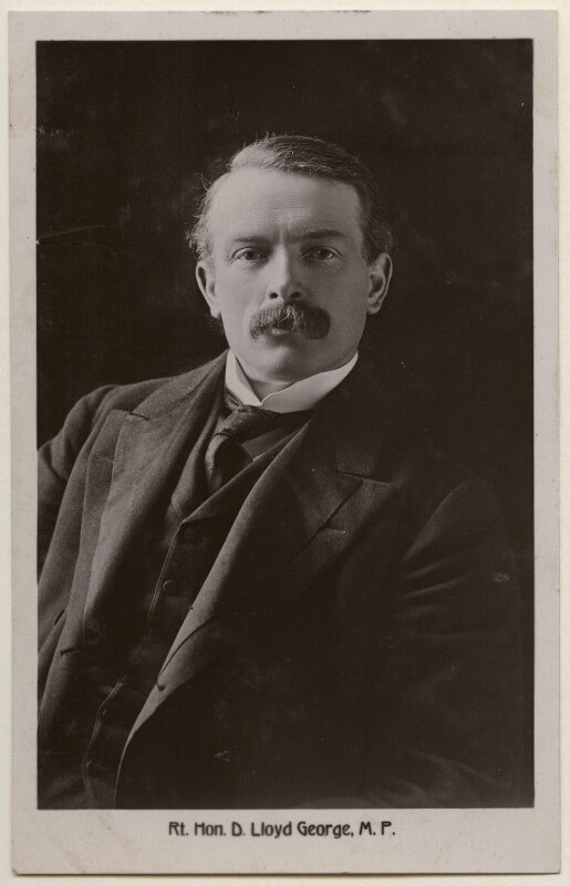 David Lloyd George, by James Russell & Sons, published by  The Shenley Real Photo Post Card (Percy Redjeb), 1900s - NPG x197802 - © National Portrait Gallery, London