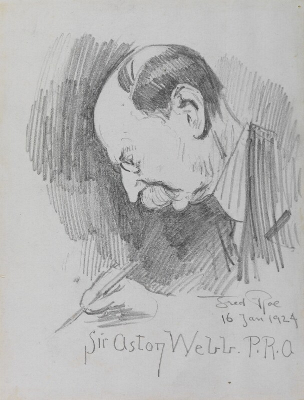 Sir Aston Webb signing the minutes, by Fred Roe, 16 January 1924 - NPG D43147 - © estate of Fred Roe