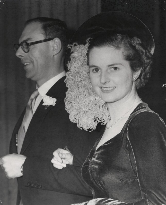 Sir Denis Thatcher, 1st Bt; Margaret Thatcher, by Keystone Press Agency Ltd, 13 December 1951 - NPG x139971 - © Keystone Press Agency Ltd