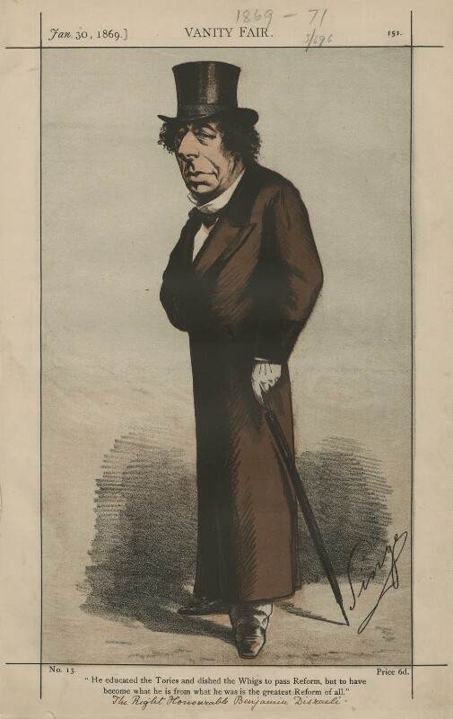 Benjamin Disraeli, Earl of Beaconsfield [Statesmen No. 1], by Carlo Pellegrini, published in Vanity Fair 30 January 1869 - NPG D43364 - © National Portrait Gallery, London