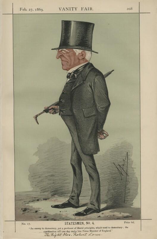 Robert Lowe, 1st Viscount Sherbrooke ('Statesmen, No. 4'), by Carlo Pellegrini, published in Vanity Fair 27 February 1869 - NPG D43368 - © National Portrait Gallery, London