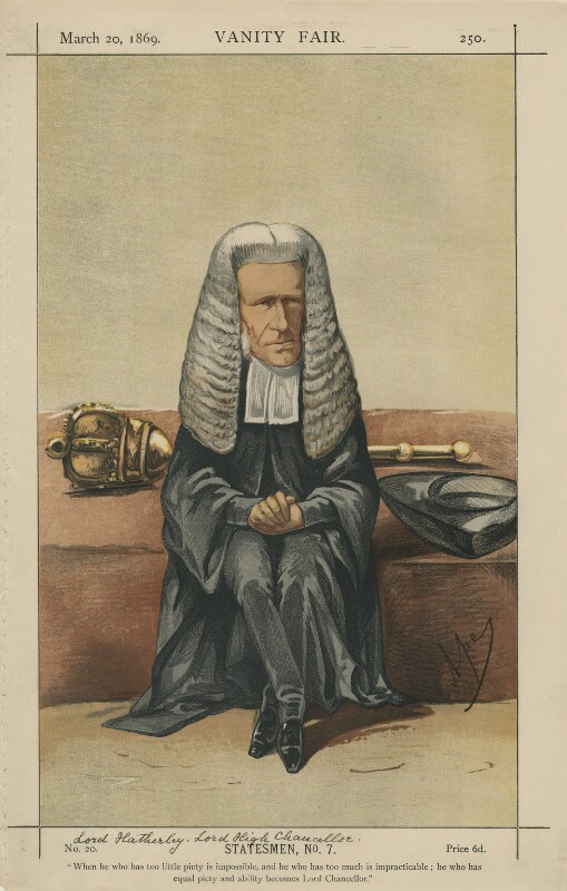 William Page Wood, Baron Hatherley ('Statesmen, No.7.'), by Carlo Pellegrini, published in Vanity Fair 20 March 1869 - NPG D43371 - © National Portrait Gallery, London