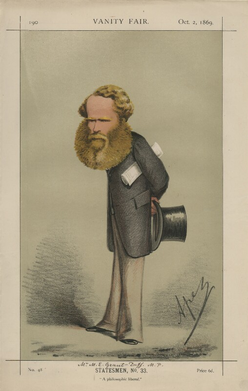 Sir Mountstuart Elphinstone Grant-Duff ('Statesmen, No. 33.'), by Carlo Pellegrini, published in Vanity Fair 2 October 1869 - NPG D43399 - © National Portrait Gallery, London