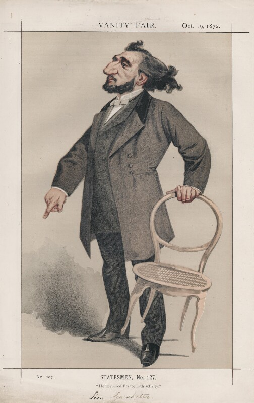 Léon Gambetta ('Statesmen, No. 127.'), by Charles Auguste Loye ('M.D' or Montbard), published in Vanity Fair 19 October 1872 - NPG D43558 - © National Portrait Gallery, London