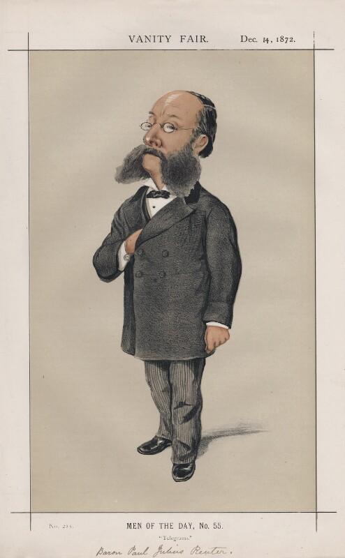 (Paul) Julius de Reuter, Baron de Reuter (né Israel Beer Josaphat) ('Men of the Day, No. 55.'), by Melchiorre Delfico, published in Vanity Fair 14 December 1872 - NPG D43566 - © National Portrait Gallery, London