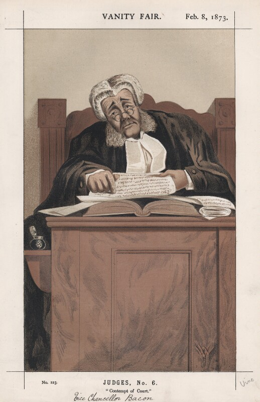 Sir James Bacon ('Judges, No. 6.'), by W. Vine, published in Vanity Fair 8 February 1873 - NPG D43574 - © National Portrait Gallery, London