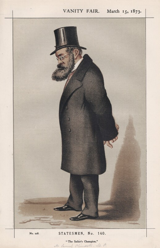 Samuel Plimsoll ('Statesmen, No. 140.'), by W. Vine, published in Vanity Fair 15 March 1873 - NPG D43579 - © National Portrait Gallery, London