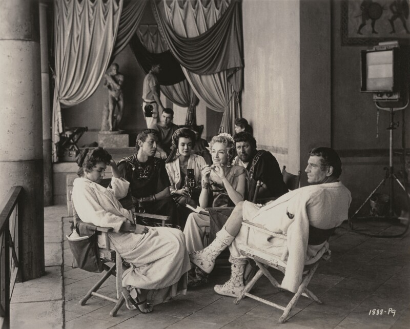 Jean Simmons; John Dall; Joanna Barnes; Nina Foch; Peter Ustinov and Laurence Olivier on the set of 'Spartacus', possibly by William Woodfield, for  Universal Studios, 1960 - NPG x199019 -