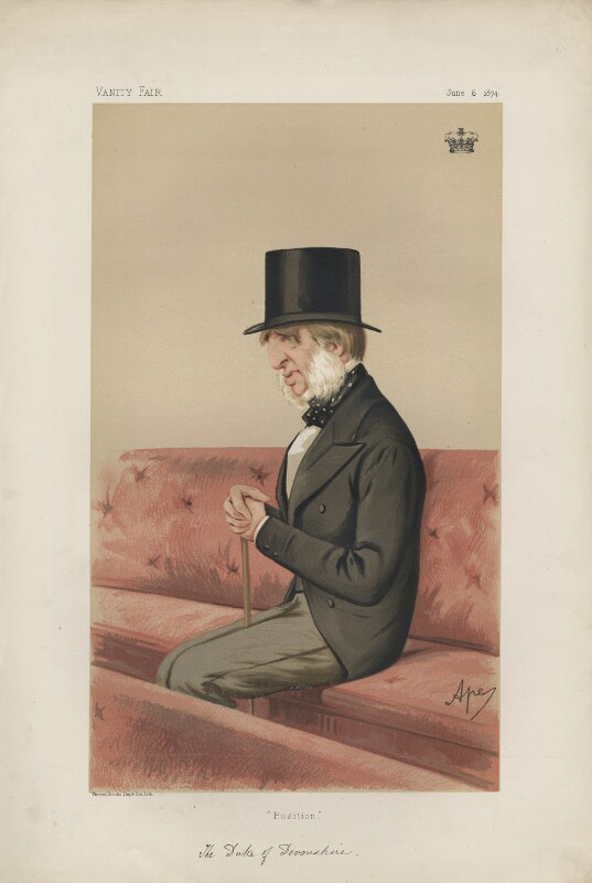 William Cavendish, 7th Duke of Devonshire ('Statesmen. No. 174.'), by Carlo Pellegrini, published in Vanity Fair 6 June 1874 - NPG D43643 - © National Portrait Gallery, London