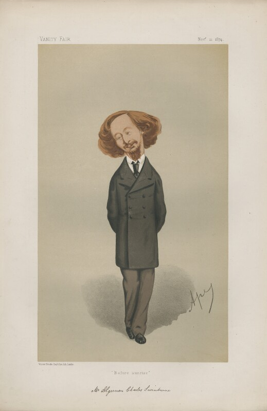 Algernon Charles Swinburne ('Men of the Day. No. 91.'), by Carlo Pellegrini, published in Vanity Fair 21 November 1874 - NPG D43667 - © National Portrait Gallery, London