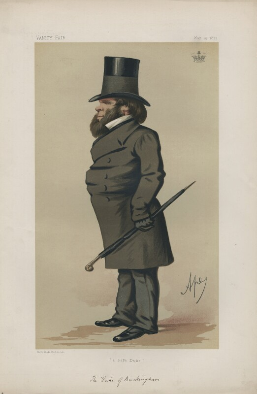Richard Grenville, 3rd Duke of Buckingham and Chandos ('Statesmen. No. 203.'), by Carlo Pellegrini, published in Vanity Fair 29 May 1875 - NPG D43694 - © National Portrait Gallery, London