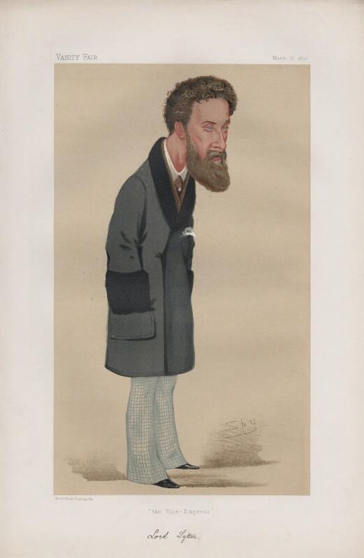 Edward Robert Bulwer-Lytton, 1st Earl of Lytton ('Statesmen. No. 219.'), by Sir Leslie Ward, published in Vanity Fair 18 March 1876 - NPG D43736 - © National Portrait Gallery, London