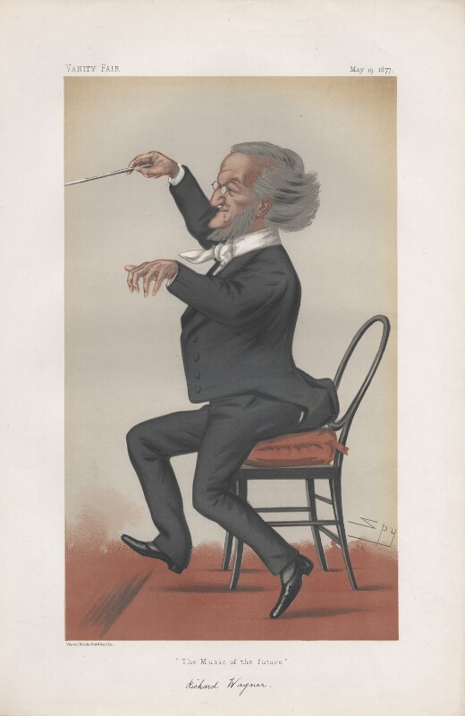 Richard Wagner ('Men of the Day. No. 149.'), by Sir Leslie Ward, published in Vanity Fair 19 May 1877 - NPG D43797 - © National Portrait Gallery, London